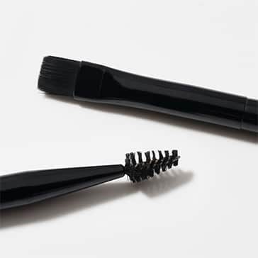 Brush heads of Tweezerman's newest synthetic and vegan brow and lash brushes
