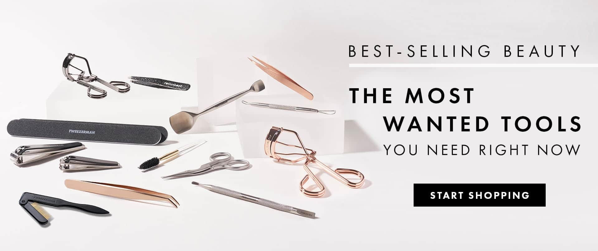 A collection of Tweezerman's best-selling beauty tools including the ProMaster Lash Curler, Rose Gold Slant Tweezer and Professional Nail Files.